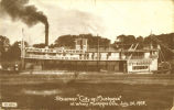 "Steamer ""City of Muskogee""  at Wharf Muskogee, Okla, July, 20, 1908."