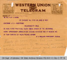 Telegram W. A. Wallace, President...