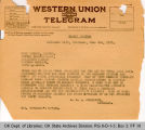 Telegram Governor James B. A. Robertson to Nick Chiles, Editor Topeka Plainsdealers, 1921 June 3