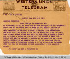 Telegram M. H. Wakefield, MD to Governor James B. A. Robertson, 1921 June 3