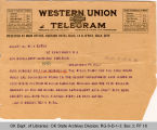 Telegram Jas D. Brooks, Secretary...