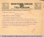 Telegram to S. P. Freeling,...