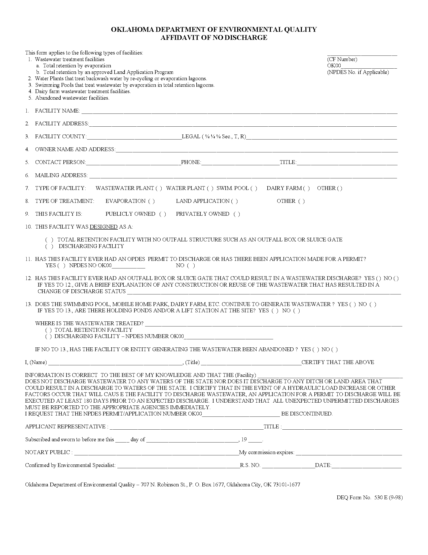Affidavit of No Discharge - Forms OK Gov - Oklahoma Digital Prairie